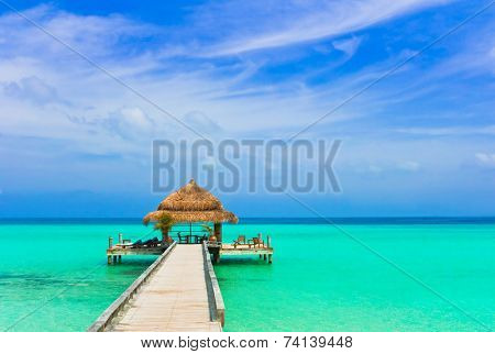 Water cafe on the beach and pathway