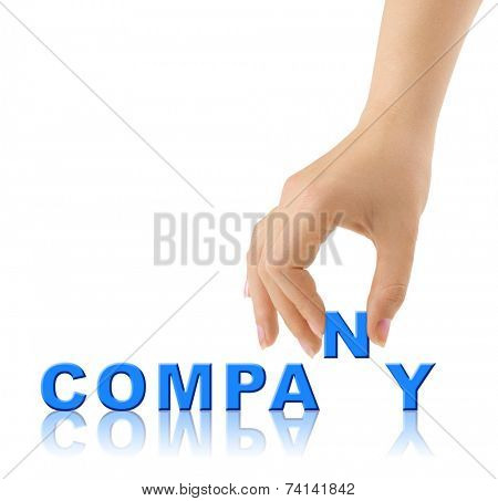 Hand and word Company isolated on white background