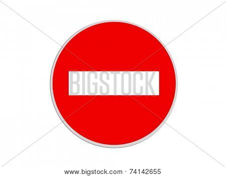 Round sign No Entry isolated on white background