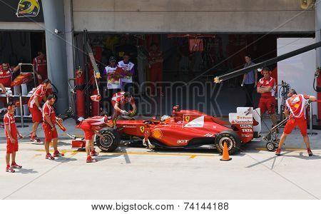 SEPANG, MALAYSIA - APRIL 8: Fernando Alonso (team Scuderia Ferrari Marlboro) on the pit at first practice on Formula 1 GP, April 8 2011, Sepang, Malaysia