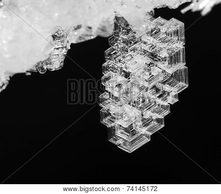 the macro frosty pattern on an ice crystal natural poster