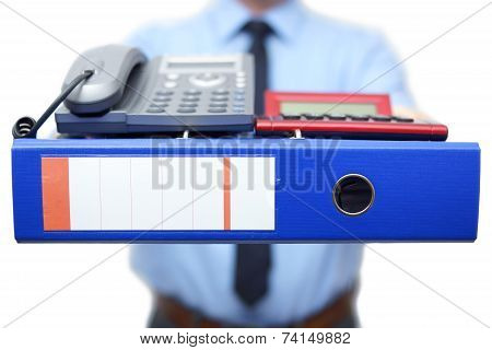 First Day In New Job. Manager Gives You A Lot Of Work And Accessories To Start