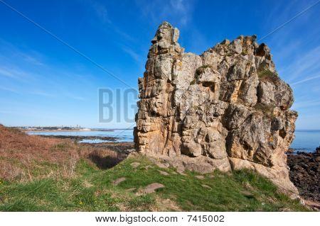 Coastal Rock Formation On A Bright Spring Morning