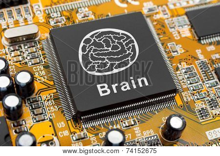 Brain symbol on computer chip - technology concept