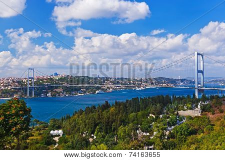 Bosphorus bridge in Istanbul Turkey - connecting Asia and Europe