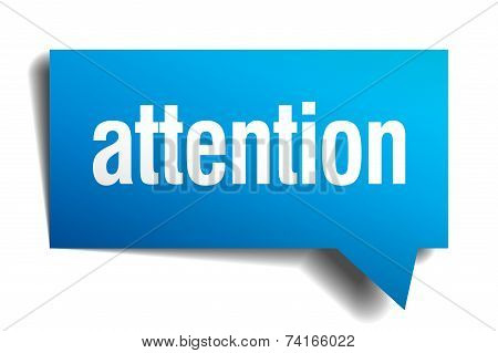 attention blue 3d realistic paper speech bubble poster