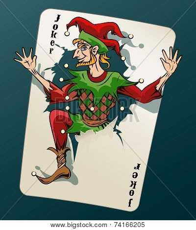 Cartooned Joker Jumping Out From Playing Card