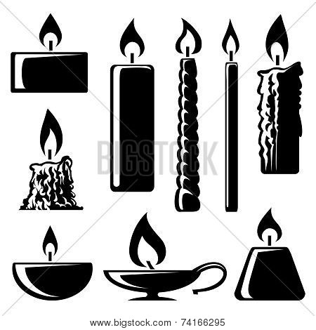 Set of black and white silhouette burning candles in different shapes with a spiral  conical  taper  cylindrical and lamp depicting  aromatherapy  spirituality  religion  commemorative and party poster