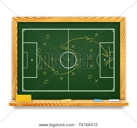 Blackboard showing a schematic plan for football