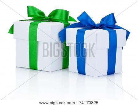 Two White Boxs Tied Blue And Green Ribbons Bow Isolated On White Background