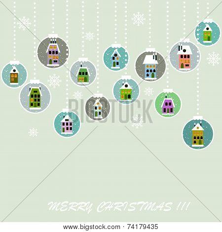 Retro Christmas Background With Christmas Balls