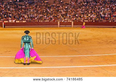 MADRID, SPAIN - SEPTEMBER 18: Matador in bullfight on September 18, 2011 in Madrid, Spain.