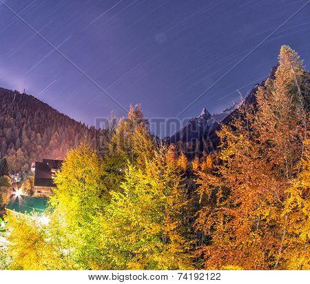 Dombai. Night City Between The Rockies In Caucasus Region In Russia