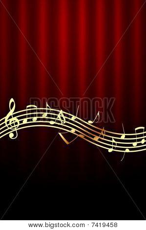 Golden Music Notes on Dark Red Background