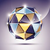 Abstract 3D gleaming sphere with geometric, glossy orb created from triangles, eps10. Nightclub and event theme. poster