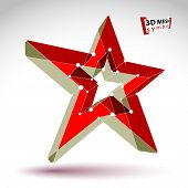 3d mesh soviet red star sign isolated on white background, colorful elegant lattice superstar icon, dimensional tech USSR symbol, bright clear eps8 vector illustration, pop star icon. poster