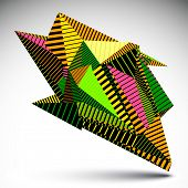 Bright complicated contrast eps8 figure constructed from triangles with parallel lines. Colorful asymmetric striped sharp object isolated on white background. poster