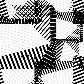 Black and white rhythmic textured endless pattern, continuous grunge geometric background. poster