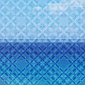 Blue defocused background with geometric ornament. Eps10 poster