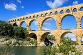 Roman aqueduct at Pont du Gard France UNESCO World Heritage Site poster