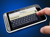 Insurance - Request in Search String. Finger Pressing the Button on Modern Smartphone on Blue Background. poster