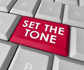 Set the Tone words on a computer keyboard button or key to inject meaning in your message in text or email poster