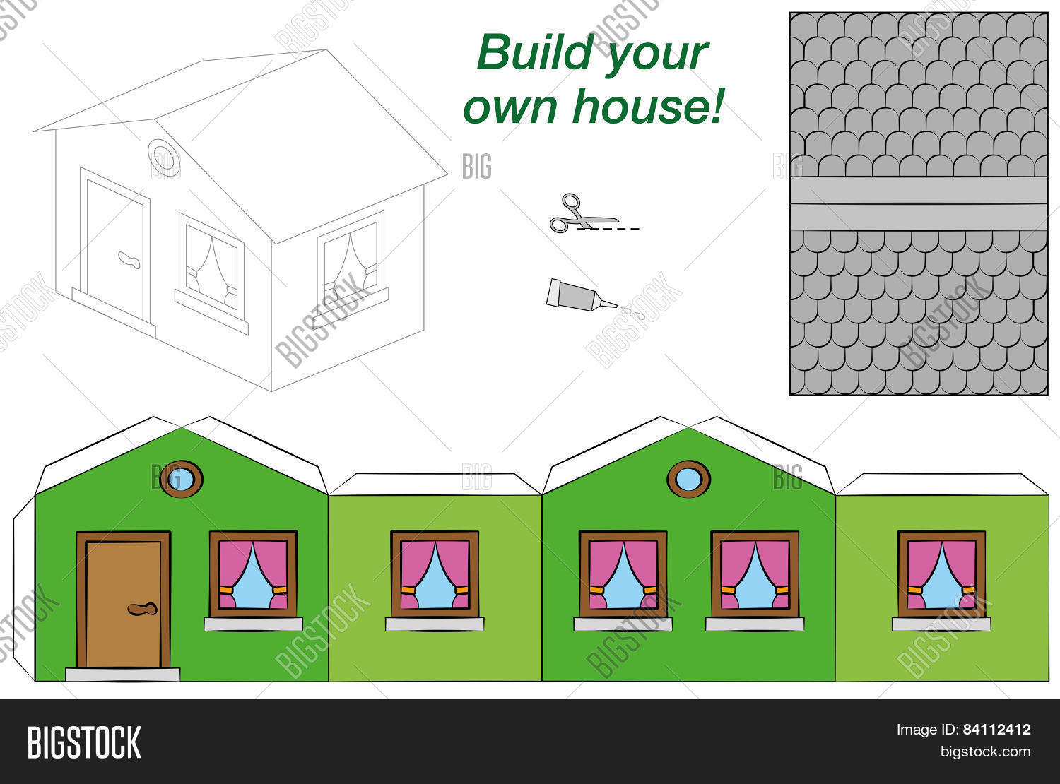 Paper Model House Vector & Photo (Free Trial) | Bigstock