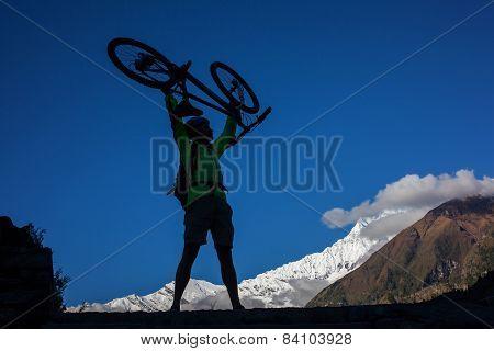 happy Biker-boy in Himalaya mountains Anapurna region poster