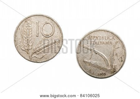 Ten Lira coin from Italy dated 1955. The Lira was the currency of Italy prior to the advent of the Euro which was adopted across mainland Europe between 2001 and 2002. poster