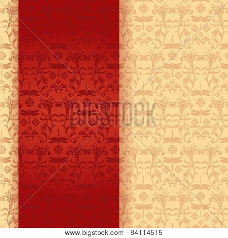 Dragonfly and flower pattern red banner
