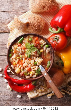 Minestrone Soup And Ingredients. Vertical Top View