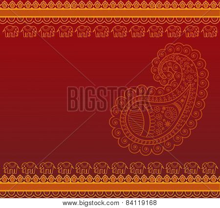 Red and gold Indian paisley background