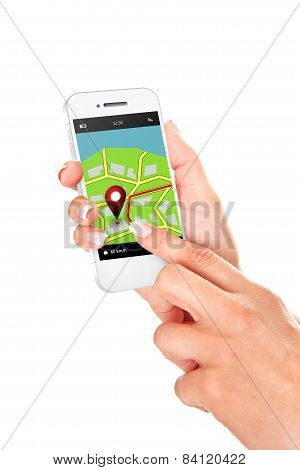 Hands Holding Mobile Phone With Gps Application And Map Isolated Over White