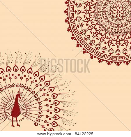 Red And Cream Indian Peacock Mandala Background