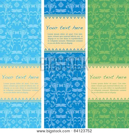 Colorful Japanese pattern vertical banners