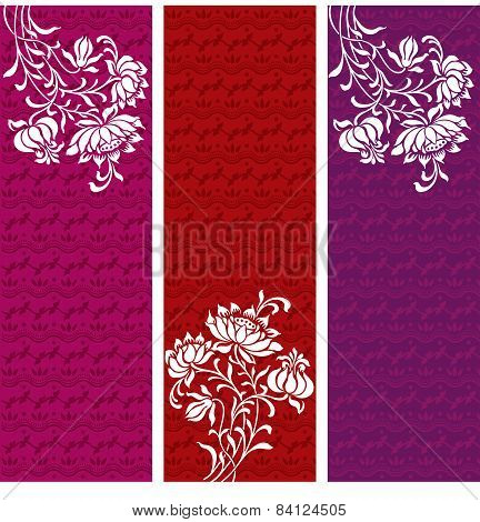 Set of colorful Indian henna vertical banners with flowers