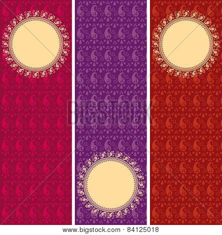 Set of paisley pattern vertical banners