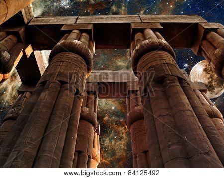 Luxor Temple, Moon And Tarantula Nebula (elements Of This Image