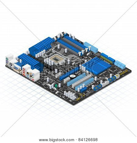 Isometric Motherboard Vector Illustration