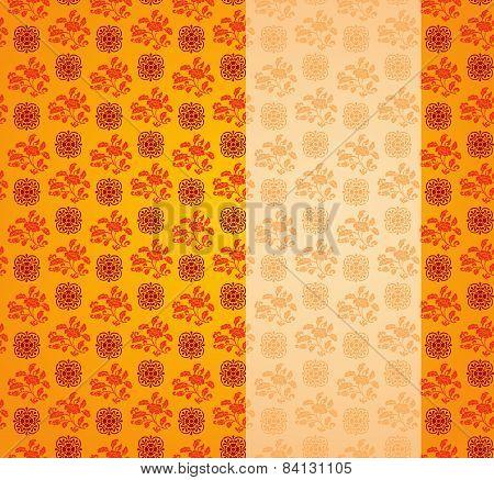 Vintage Asian Floral Pattern Background With Vertical Banner