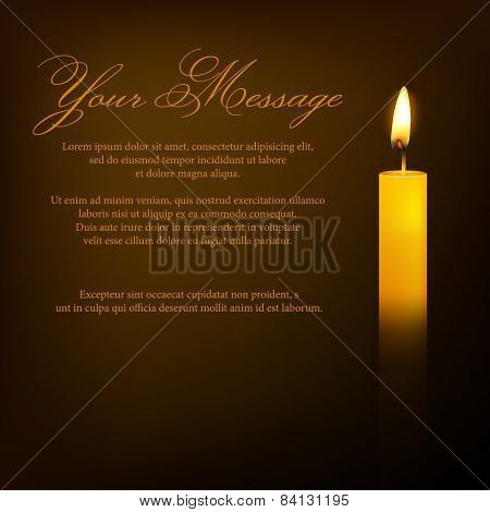 Vector funeral card with candle and place for text