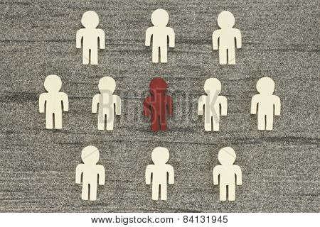Graph with many figures - including a special individual. Discover and recruit symbolizes the talents poster