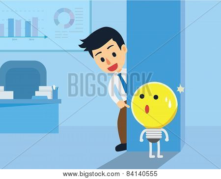 Businessman Hide and Seek with Idea