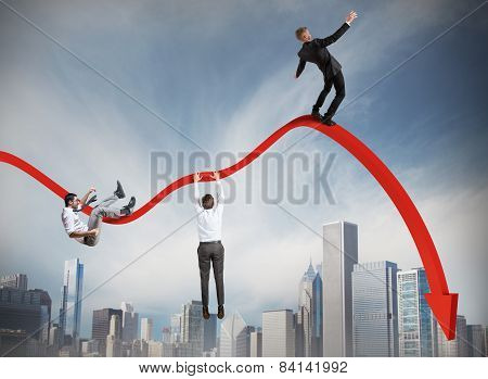 Businessmen falling down