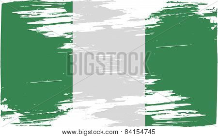Flag Of Nigeria With Old Texture. Vector