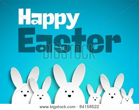 Happy Easter Rabbit Bunny On Blue Background