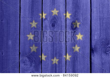 Wooden Wall With Flag