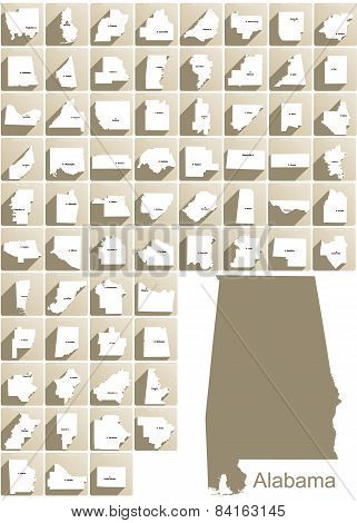 Alabama County Icons