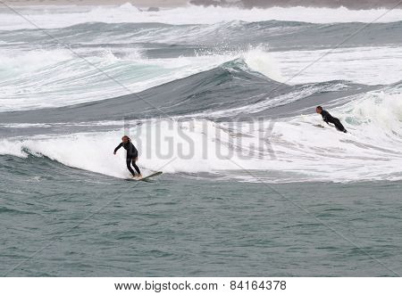 Surfing At Sennen Cove Cornwall