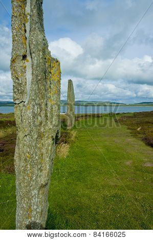 Stenness Stone Circle View In Orkney Island, Scotland